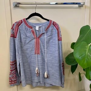 Belle Vere Blue Boho Top w/ Red Embroidery Trim